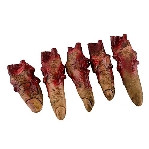 Halloween Food Like Body Parts (IronBuddy Bloody Fake Fingers Realistic Severed Fingers Horror Scary Prank Toys Fingers Props for Halloween Decorations, 5 Fingers (No)