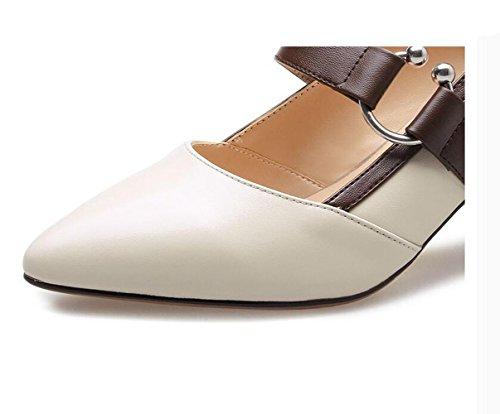 Con Zapatos De Irregular Señaló Xzgc Oscuro Blanco Altos Tacones Mujer xYE46XnW
