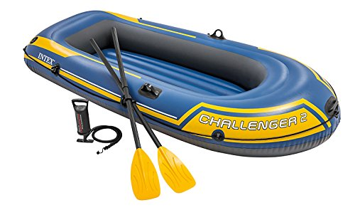 Intex Challenger 2, 2-Person Inflatable Boat Set with French Oars and High Output Air Pump (Latest Model)