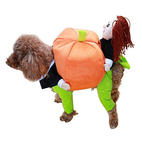 HDE Dog Pumpkin Carrying Halloween Costume Stuffed Pumpkin with Kids Pet Outfit for Medium and Large Dogs (Orange, Large)