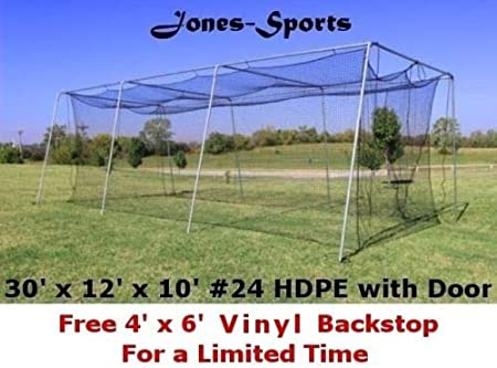 Amazon Com Jones Sports Batting Cage Net 10 H X 12 W X 30 L 24 Hdpe 42ply With Door Baseball Softball Sports Outdoors