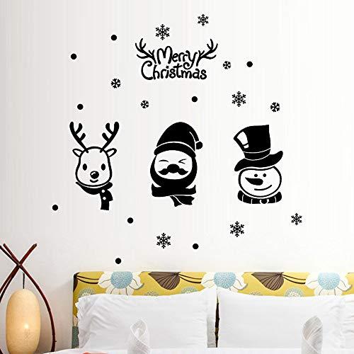 MSOO Happy New Year Merry Christmas Snowflake Wall Sticker Home Shop Windows Decals Decor (Black2 74X50cm) -