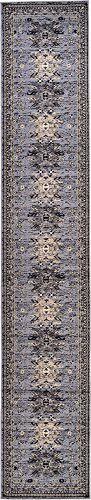 - Unique Loom Taftan Collection Geometric Tribal Gray Runner Rug (8' x 8')
