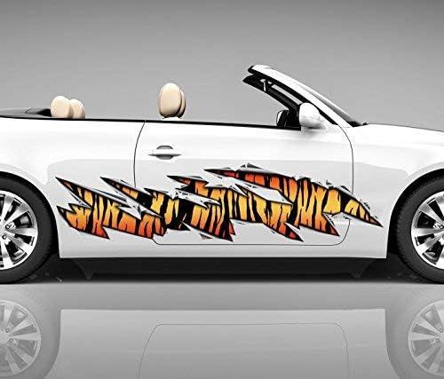 2x Seitendekor Tiger Streifen Haut Metall Kratzer 3d Autoaufkleber Digitaldruck Seite Auto Tuning Bunt Aufkleber Rennstreifen Seitenstreifen Airbrush Racing Autofolie Car Wrapping Decals Sticker Tribal Seitentribal Cw056 Größe Lxb Ca 80x20cm