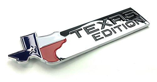 (TAKOsport Texas Edition Emblem Badge (Universal) Chrome and Black Finish Fits Dodge, Chevy, Ford Trucks (Chrome))