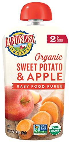 Earth's Best Organic Sweet Potato, Apple Baby Food Puree, 4 oz