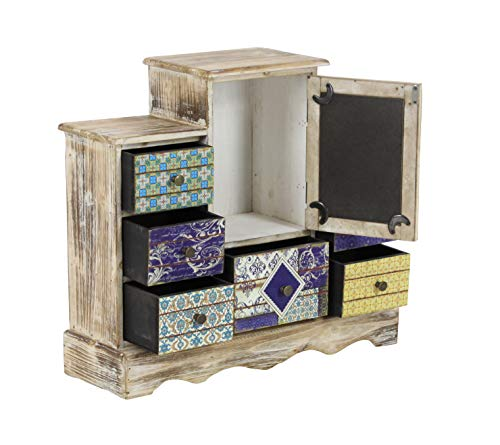 Deco 79 56700 Lattice Pattern Designed Wooden Jewelry Chest, 16'' x 18'', Lightbrown/Multi-Color by Deco 79 (Image #4)