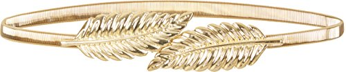 BlackButterfly Metallic Elastic Stretchy Chain Leaf Belt (Gold, US 10-12) ()