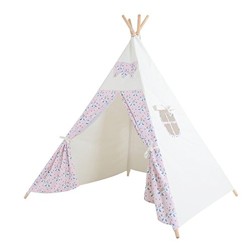 Kids Teepee Play Tent - 5' Feet Tall Large Handcrafted Indoor Indian Tent by Wonder Space, Ideal Activity Play Center Playroom for Toddlers and Children (Pink Panda) (Handmade Heritage Panels)
