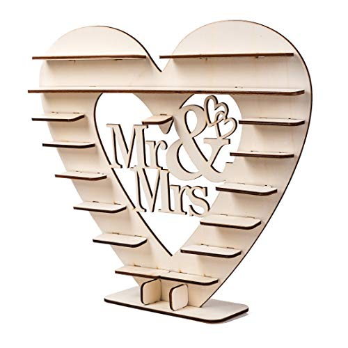 Dessert Bar Rustic Wood Wedding Mr & Mrs Heart Chocolate Dessert Table Display Cake Topper Vintage Party Event Banquet Anniversary Decoration Party Favors Living Room 18 x 16 Inch