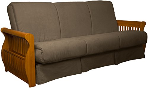 Laguna Perfect Sit & Sleep Pocketed Coil Inner Spring Pillow Top Sofa Sleeper Bed, Queen-size, Medium Oak Arm Finish, Microfiber Suede Mocha Brown Upholstery