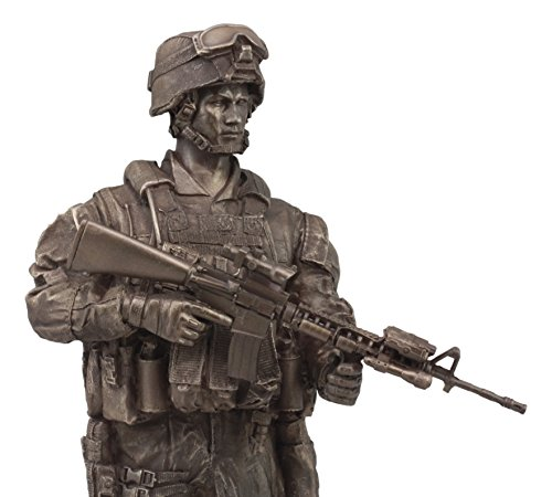 Ebros US Military War Soldier Marine Rifleman On Guard Statue 13.5 Tall Patriotic Infantry Fire Assault Rifle Gun Unit Figurine