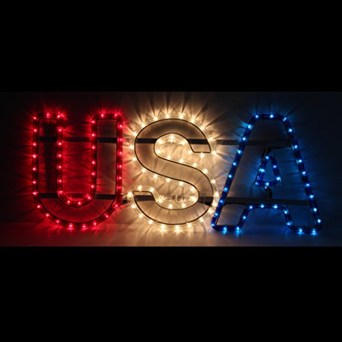 Patriotic Lighted Hanging Usa Flag 4th July Decor Outdoor Indoor