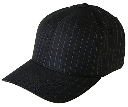 (Flexfit 6195P Stretch Twill Pinstripe Cap - Large/X-Large (Black/White Pinstripe))