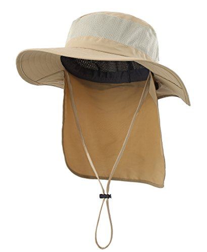 Home Prefer Mens Fishing Hat with Neck Protection UPF 50+ Sun Bucket Hat for Outdoor Hunting Gardening Khaiki Khaki