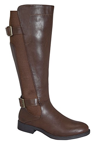 Pita-37W Women's Elastic Design Knee High Causal Rider Boots with Buckle Brown 9