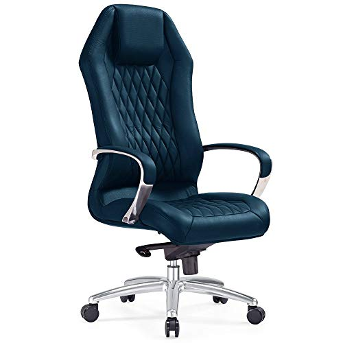 (Modern Ergonomic Sterling Leather Executive Chair with Aluminum Base- Navy Blue)