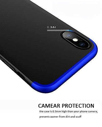 182b431d1c4 De policarbonato duro. Protección de 360 °. Protector de pantalla de vidrio  templado, color Azul + Negro - Fundas chungas