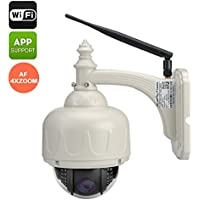 Wireless Waterproof PTZ Camera - 720P, Wi-Fi, Android +iOS Apps, Night Vision, Motion Detection, 4 x Zoom, Two-Way Audio