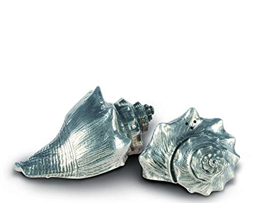 (Vagabond House Pewter Conch Shells Salt and Pepper Shaker Set 2