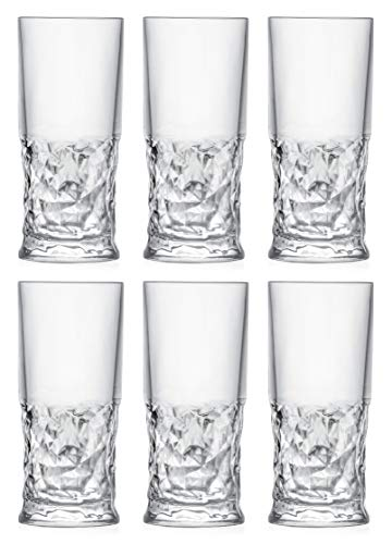 Highball – Glass – Set of 6 – Hiball Glasses – Crystal like Glass – Beautiful Designed – Drinking Tumblers – for Water…