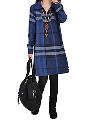 OUCHI® Women Long Sleeve Checkered Plaid Loose Casual Pullover Shirt Dress