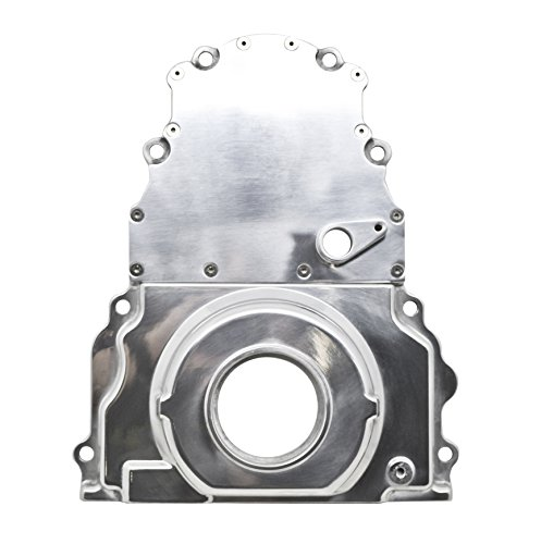 (ALUMINUM CHEVY LS TWO PIECE TIMING CHAIN COVER W CAM SENSOR HOLE KIT - POLISHED)