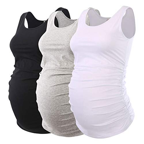 (Ecavus Pack 3pcs Womens Layering Maternity Tank Top Pregnancy Shirt Scoop Neck Sleeveless Ruched Vest)
