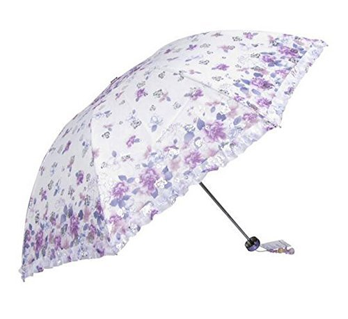 New Arrival Folding Travel Sun Lightweight Umbrella Lady's Parasol Sunblock UV Protection UPF 50+ Compact Size with Black Underside Keep Cooler in Hot Summer! (Purple)