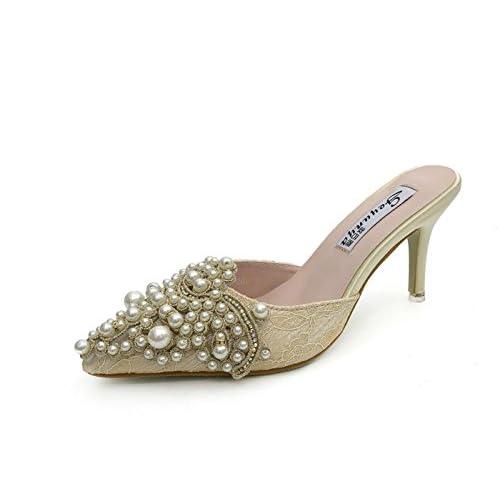 DANDANJIE Femmes Chaussures PU Sandales D'été Talon Stiletto Open Toe Slippers & Flip-Flops Pour Rose Abricot