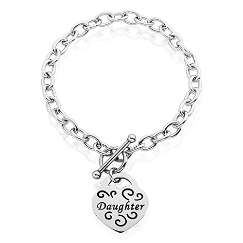 (| ELYA Women's Stainless Steel Engraved 'Sister' Heart Charm Bracelet with 7.5 inches Cable Chain)