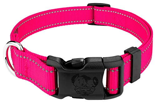 Country Brook Petz Deluxe Hot Pink Reflective Nylon Dog Collar - Extra Large