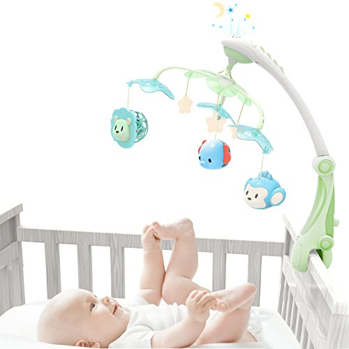 Growthpic Musical Baby Crib Mobile With Star Projector Nursery Function  Foldable Arm  Hanging Rotating Safe Infant Playing Teether And Loudspeaker With 30 Melodies  Upgraded Color