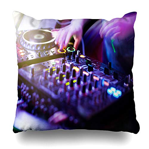 Ahawoso Throw Pillow Cover Entertainment Club Dj Playing Music Mixer Closeup Mixes Fun Holidays Technology Party Hip Hop Decorative Pillow Case 16x16 Inches Square Home Decor Pillowcase