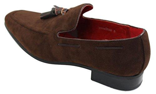 On Design Casual Herren Wildleder Smart Leder Braun Rossellini Schuhe Slip Quaste Slipper Driving WYBwwfPTq
