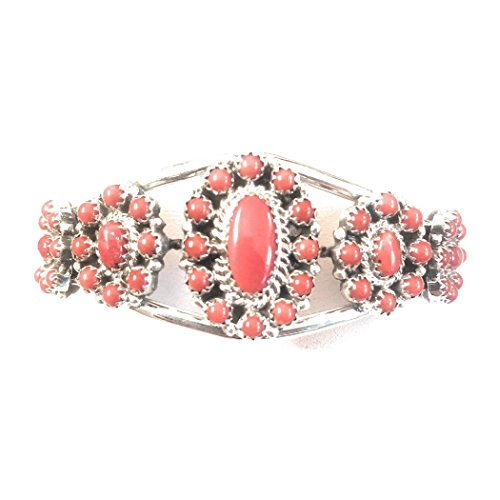 Nizhoni Traders LLC Zuni Coral Sterling Silver Cluster Bracelet Signed from Nizhoni Traders LLC