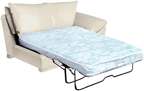 Omnia Leather Fargo Right Arm 2 Cushion Loveseat with Twin Deluxe Innerspring Mattress Installed in Leather, Standard No Nail Head, Softstations Ice