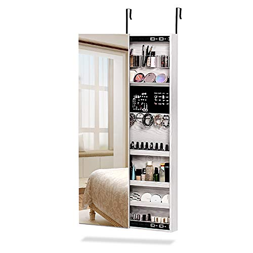 - NEX Door Wall Mounted Jewelry Armoire Makeup Storage Organizer with Real Glass Mirror - White