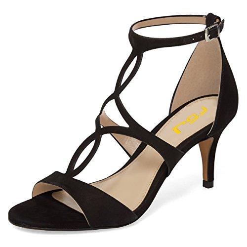 Fsj Femmes Lanières À Bout Ouvert Sandales Talons Bas En Cage Découpe Faux Suède Confortable Chaussures Taille 4-15 Us Noir
