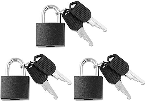 VIP Home Essentials – 3 Locks - Small Mini Durable ABS Covered Solid Brass Body Individually Keyed Padlock Set