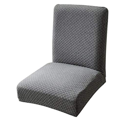 Fityle Knitted One-Piece Dining Room Chair Cover Slipcover for Home Party Hotel Bar Stool Seat - Dark Gray