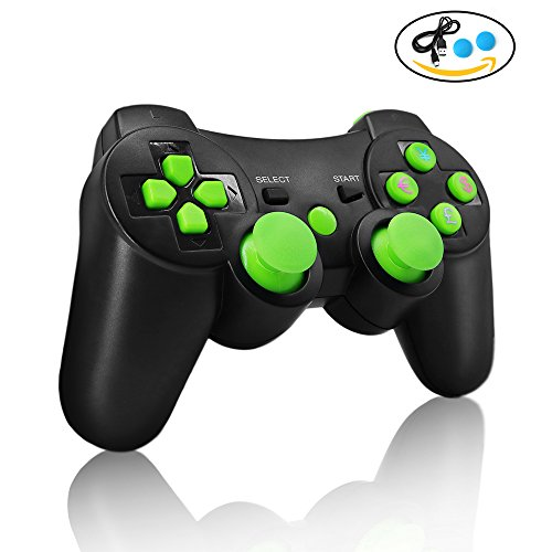 Charged Performance Shock - PS3 controller Wireless Bluetooth Double Shock Sixaxis Remote Gamepad for Sony PS3 PlayStation (Green)