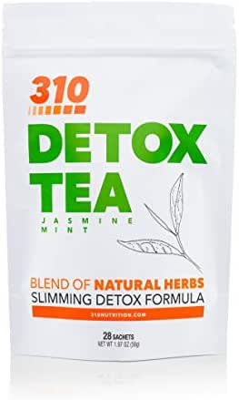 310 Nutrition, 310 Tea Slimming Detox Organic Gree Tea with Yerba Mate, Guarana, and More Natural Ingredients, Comes with Free eBook (Jasmine Mint, 28 Servings)