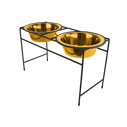 Platinum Pets Double Diner Feeder with Stainless Steel Dog Bowls, 3.5 cup/28 oz, 24 Karat Gold