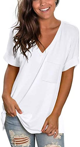 NSQTBA Womens Basic V Neck T Shirts Rolled Short Sleeve Summer Casual Tops with Pocket S-2XL