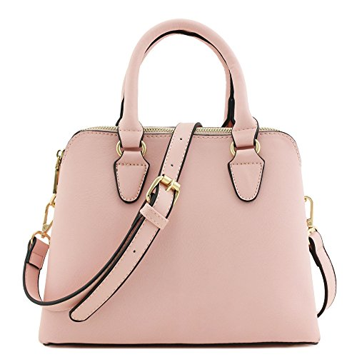 Classic Double Zip Top Handle Satchel Bag (Light Pink) (Satchel Bag)