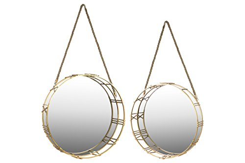 Urban Trends Metal Round Wall Mirror with Roman Numeral Frame and Rope Handle (Set of 2), Gold by Urban Trends