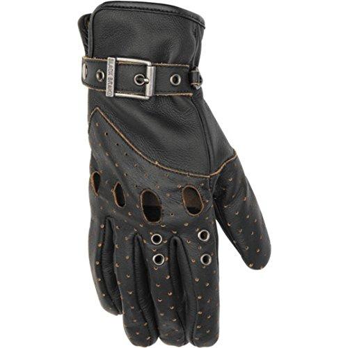 Black Brand Women's Leather Vintage Venom Motorcycle Gloves (Black, - Women Leather Gloves Motorcycle