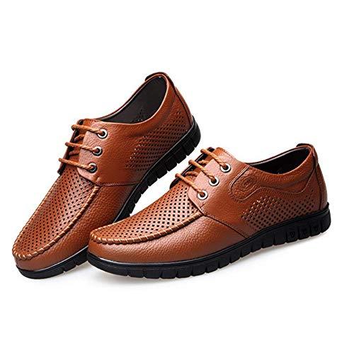 Suave cómodos Hombres al Cuero otoño papá LQV Desgaste Resistentes Fondo de Primavera Mediana Calientes de de Antideslizantes Edad de Zapatos Suave para Zapatos Hollow Zapatos y de Yellow nZRqYSawR