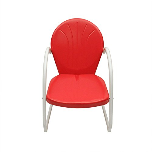 Rich Pacific Vibrant Red and White Retro Metal Tulip Chair For Sale